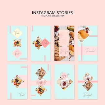 Instagram-geschichtenschablonensammlung mit frühstückskonzept