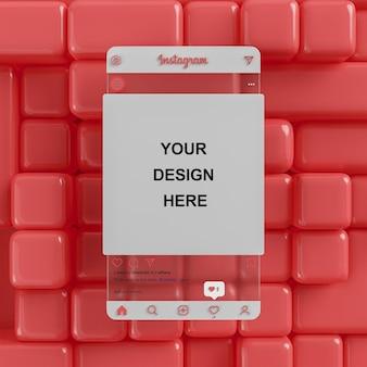 Instagram-glas-social-media-postmodell auf rotem abstraktem hintergrund für die feed-präsentation 3d-rendering
