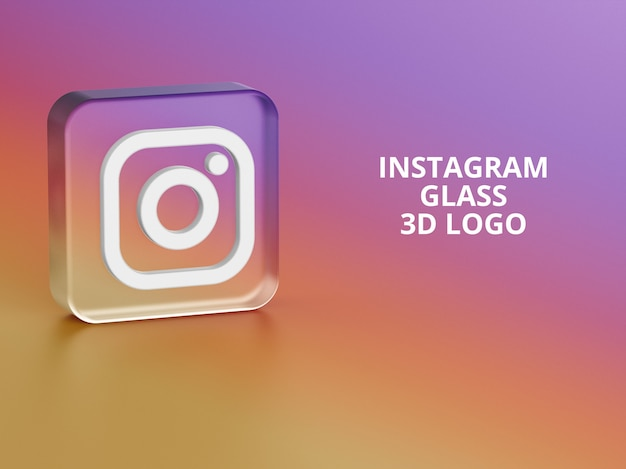 Instagram logo glas 3d mockup