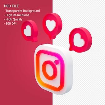 Instagram-logo im 3d-rendering-symbol