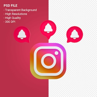Instagram-logo in 3d-rendering isoliert