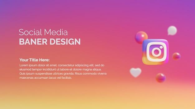 Instagram-logo-symbol auf der schaltfläche 3d-rendering-hintergrund