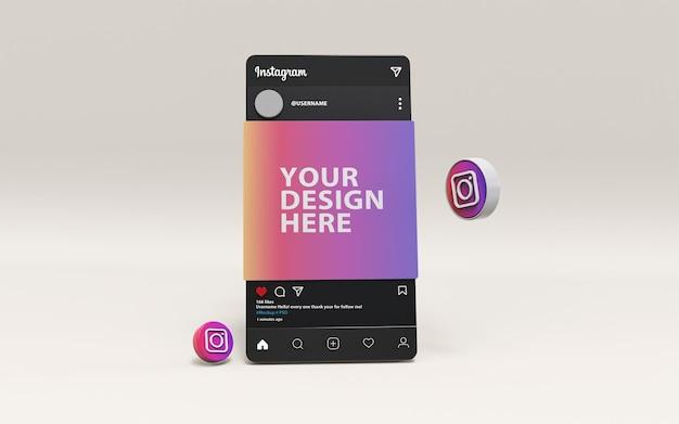 Instagram mockup psd 3d