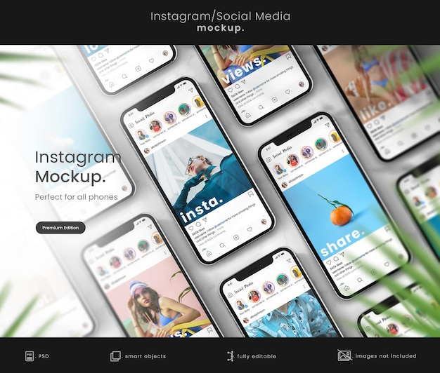 Instagram-mockup-vorlage auf dem telefon-mockup