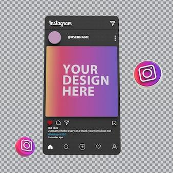Instagram-modell 3d-bildschirm
