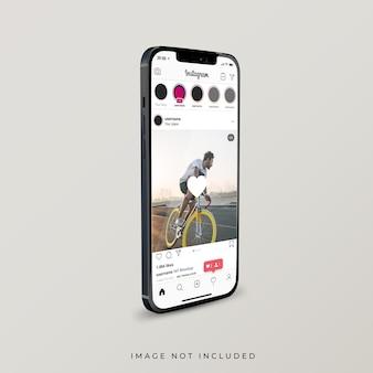 Instagram-oberfläche auf realistischem 3d-rendering des smartphones