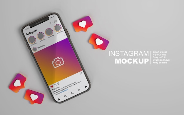 Instagram-post auf dem handy-mockup
