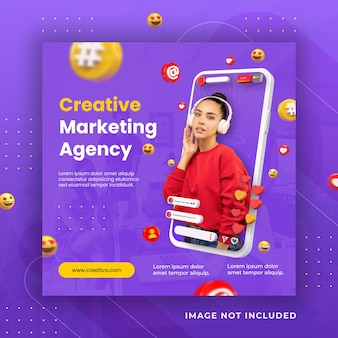 Instagram-post des kreativen konzepts der sozialen medien für werbevorlage des digitalen marketings