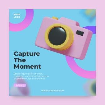 Instagram-post mit 3d-render-symbol