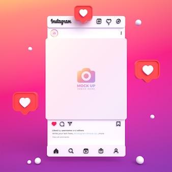 Instagram-post-mockup für soziale medien mit 3d-lichtschnittstelle und instagram-feed