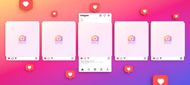 Instagram-post-mockup für soziale medien mit 3d-lichtschnittstelle und mehreren instagram-feeds