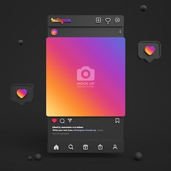 Instagram-post-mockup für soziale medien mit dunkler 3d-oberfläche und instagram-feed