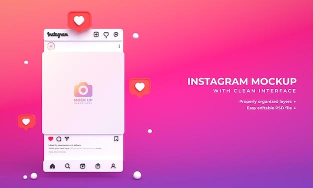 Instagram-post-mockup für soziale medien mit minimaler 3d-lichtschnittstelle und instagram-feed