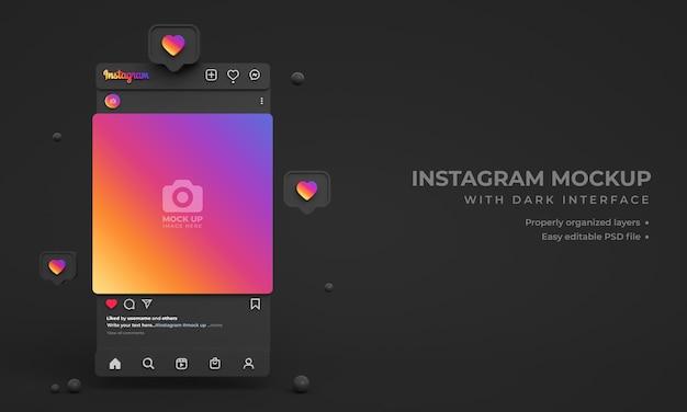 Instagram-post-mockup für soziale medien mit minimaler dunkler 3d-oberfläche und instagram-feed