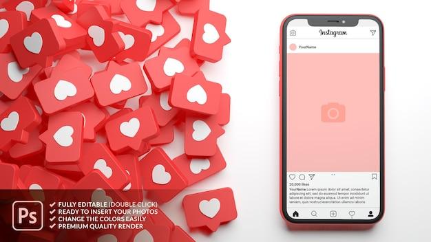 Instagram-post-modell mit telefon und einer menge ähnlicher benachrichtigungen beim 3d-rendering