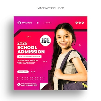 Instagram-post oder quadratische web-banner-vorlage für den schuleintritt
