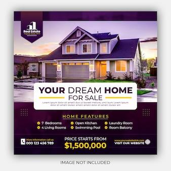 Instagram-post oder quadratische webbanner-promo-vorlage für immobilienhaus