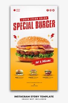 Instagram post stories banner vorlage für restaurant fast food menü burger