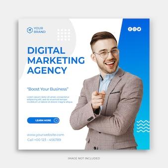 Instagram-post-vorlage oder quadratischer flyer mit digitalem marketing-banner oder werbekonzept für werbung