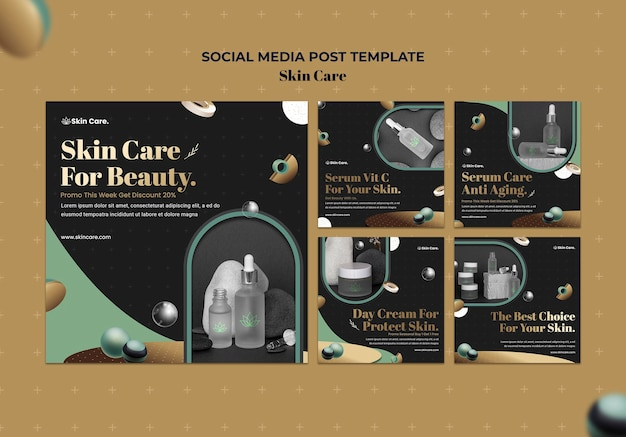 Instagram posts sammlung für hautpflegeprodukte