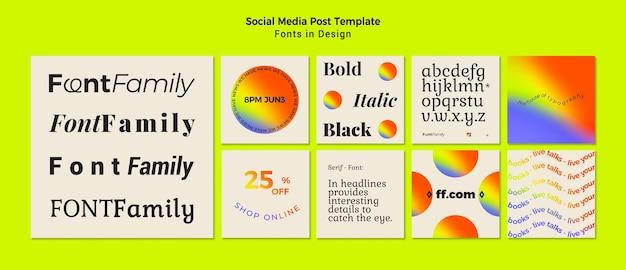 Instagram-posts-sammlung für schriftarten und design