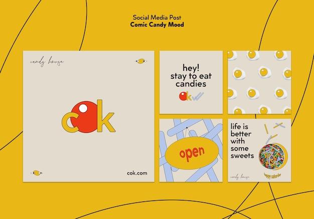Instagram posts sammlung für süßigkeiten im comic-stil