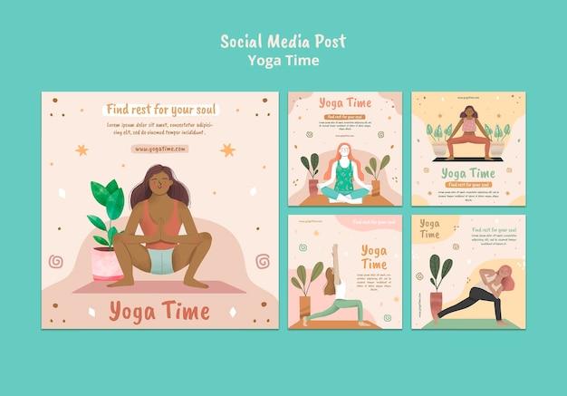 Instagram-posts-sammlung für yoga-zeit Kostenlosen PSD