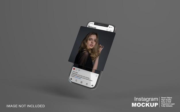 Instagram-postvorlage auf dem handymodell
