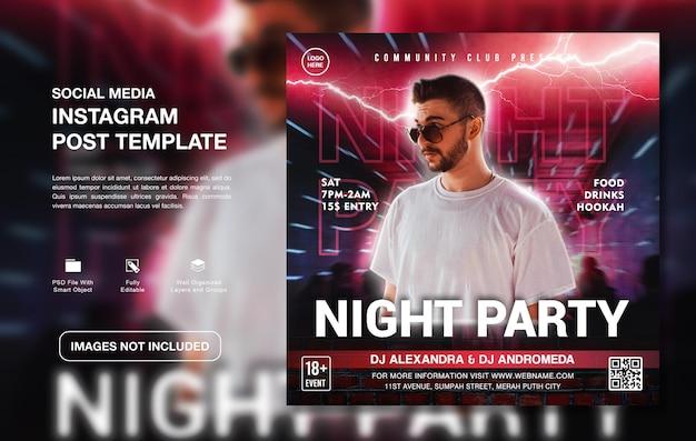 Instagram-postvorlage für kreative dj-party-werbung
