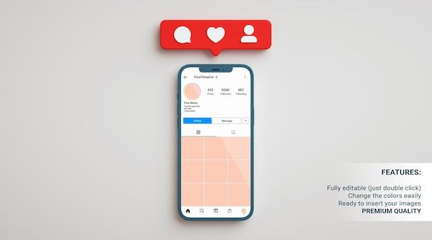 Instagram-profilmodell in einem telefon auf neutralem hintergrund mit app-benachrichtigungen in 3d-rendering