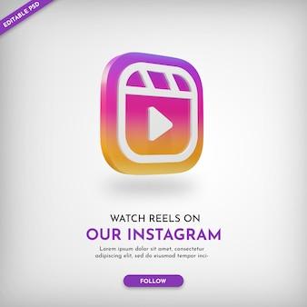 Instagram reels promo-banner mit 3d-symbol