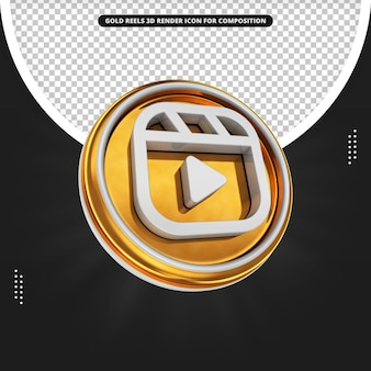Instagram-rollen 3d rendern goldenes symbol