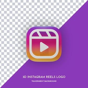 Instagram-rollen 3d-stil symbol vorderansicht