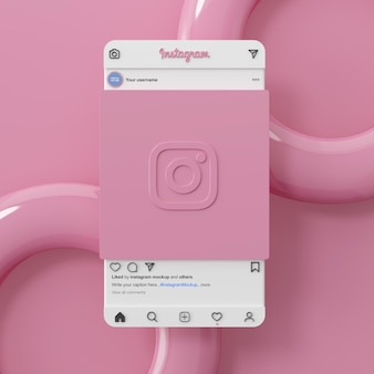 Instagram rosa hintergrund social media mockup schnittstelle 3d-rendering