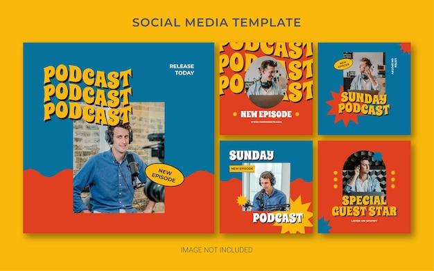Instagram social media branding-vorlage für podcasts im retro-stil