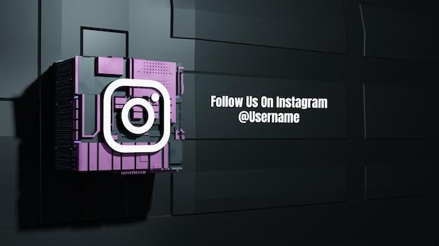 Instagram social media mockup folgen sie uns mit 3d future box technologie hintergrund