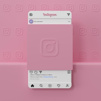 Instagram-social-media-mockup-schnittstelle 3d-rendering