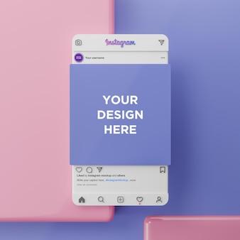 Instagram social media modell und 3d-präsentation 3d-rendering