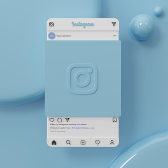 Instagram-social-media-post-mockup-ui-ux-schnittstelle auf blauem hintergrund 3d-rendering