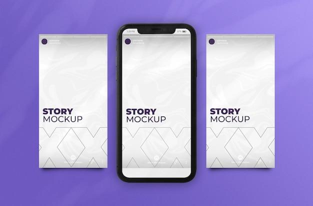 Instagram stories-modell für drei geschichten