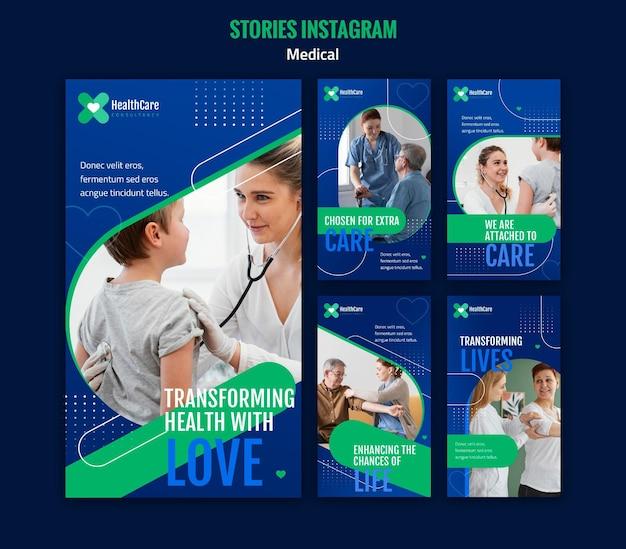 Instagram stories-sammlung für das gesundheitswesen
