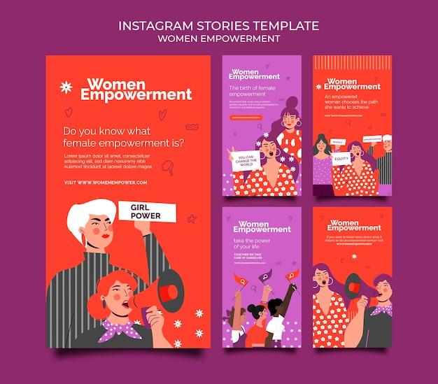 Instagram stories-sammlung für die stärkung von frauen