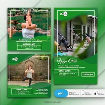 Instagram story und post für den yoga-kurs