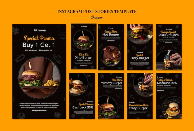 Instagram storysammlung für burger bistro
