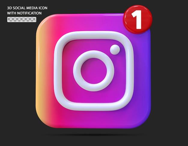 Instagram-symbol mit benachrichtigung im 3d-stil