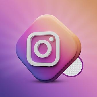 Instagram tri rechteck 3d-rendering-symbol