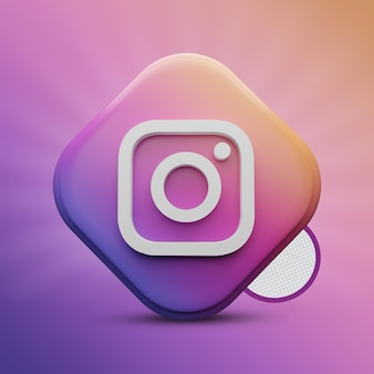 Instagram tri rectangle 3d render icon