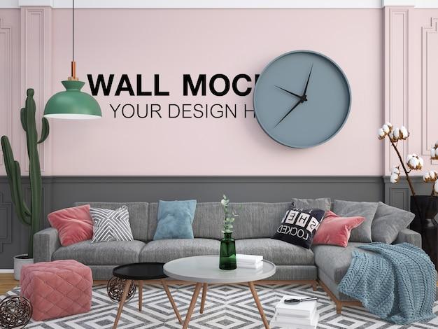 Interieur wohnzimmer graues sofa