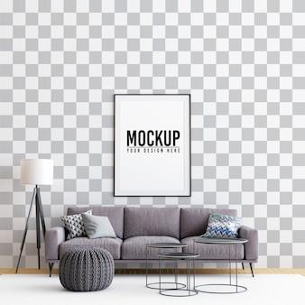 Interieur wohnzimmer poster frame mock up