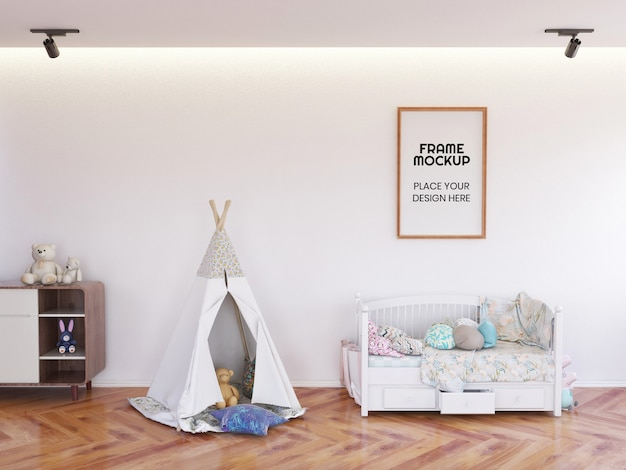 Interior kinder schlafzimmer rahmen foto mockup